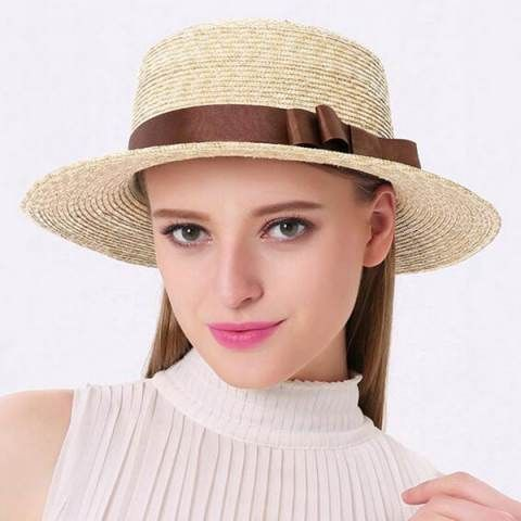Ladies straw boater hat with bow for summer sun hats UV protection ... e8632a3a68ea