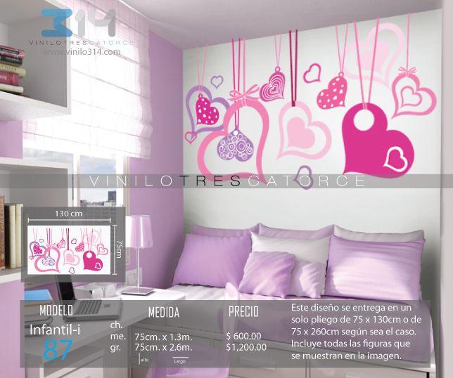 Vinilo 3 14 vinilos decorativos infantiles corazones for Adhesivos pared dormitorio