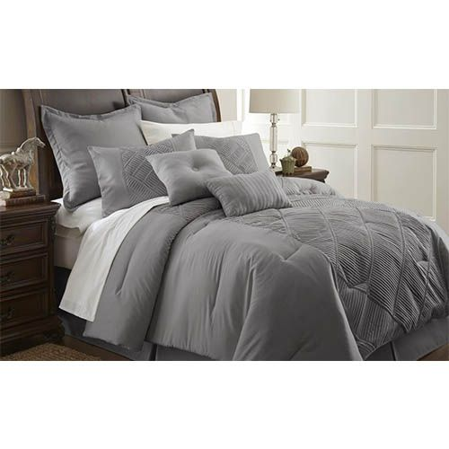 Savannah Gray Eight Piece Queen Comforter Set Comforter Sets