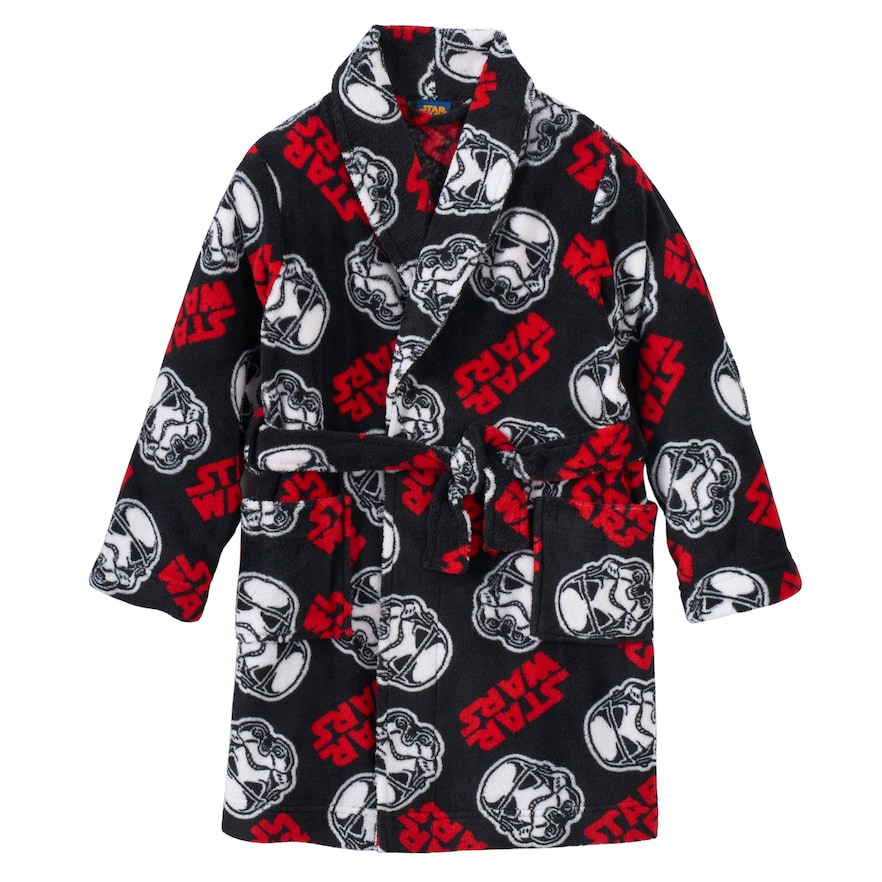 American Hero Boys Black Skulls Fleece Bathrobe