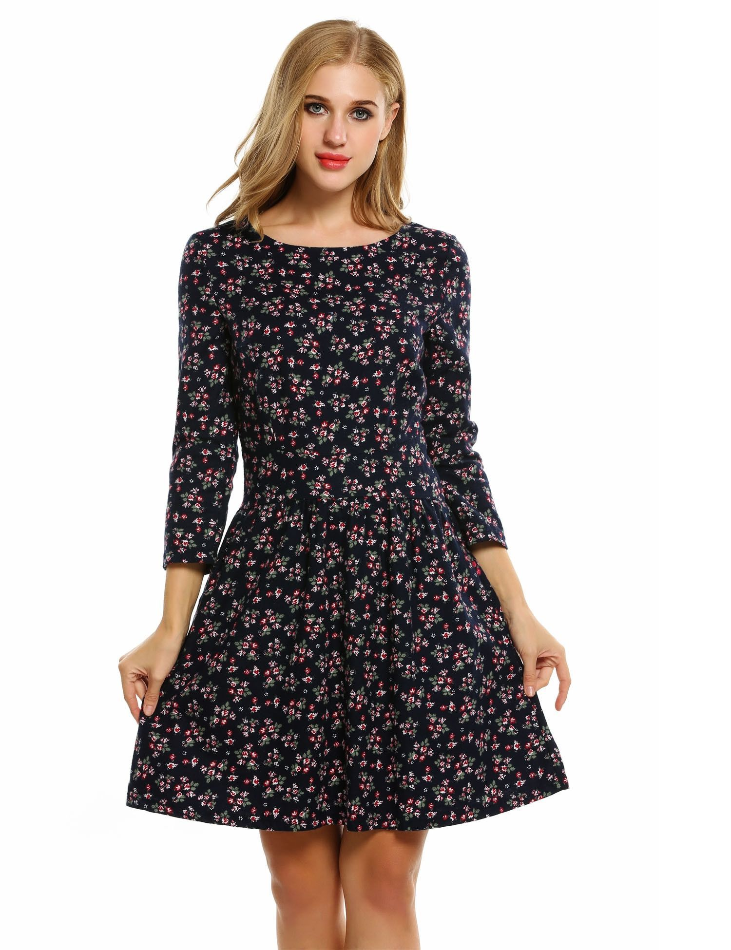 Women Fashion Long Sleeve Floral A Line Short Casual Dresses [ 1950 x 1500 Pixel ]