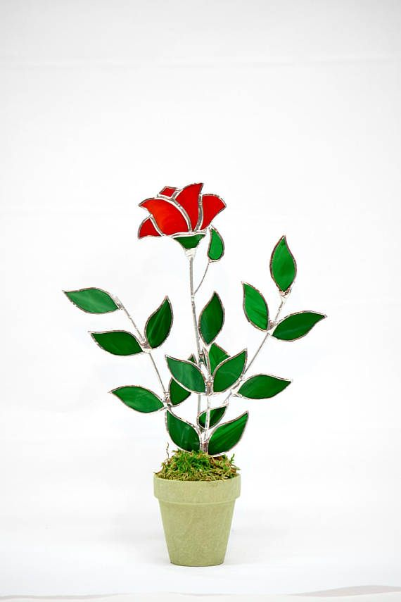 Stained Glass Red RoseSingle Stem Rose BudMade in USA Red | Gala ...