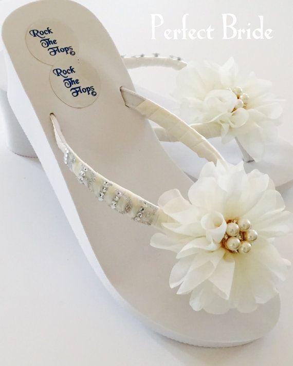 b51140b2c Bridal Flip Flops.Wedding Flip Flops Wedges for Bride.White Flip Flops.Beach  Wedding.Bling Flip Flops.Destination Wedding.Wedding Shoes