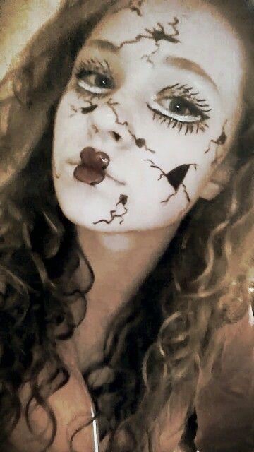 Cracked porcelain doll sfx makeup. I used black ink liner for the ...