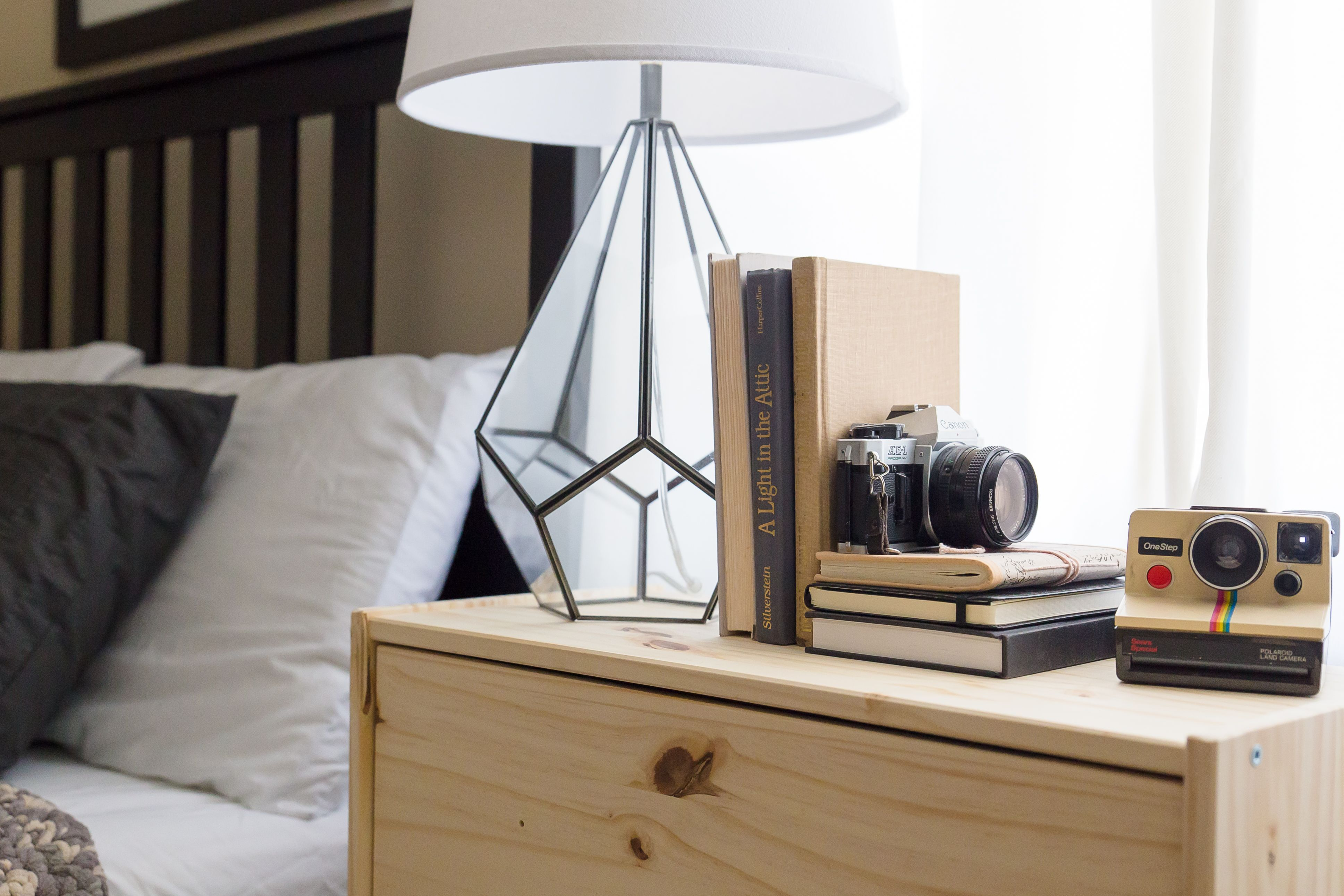 Guest Bedroom/Office. Midcentury with metal and wood accents.