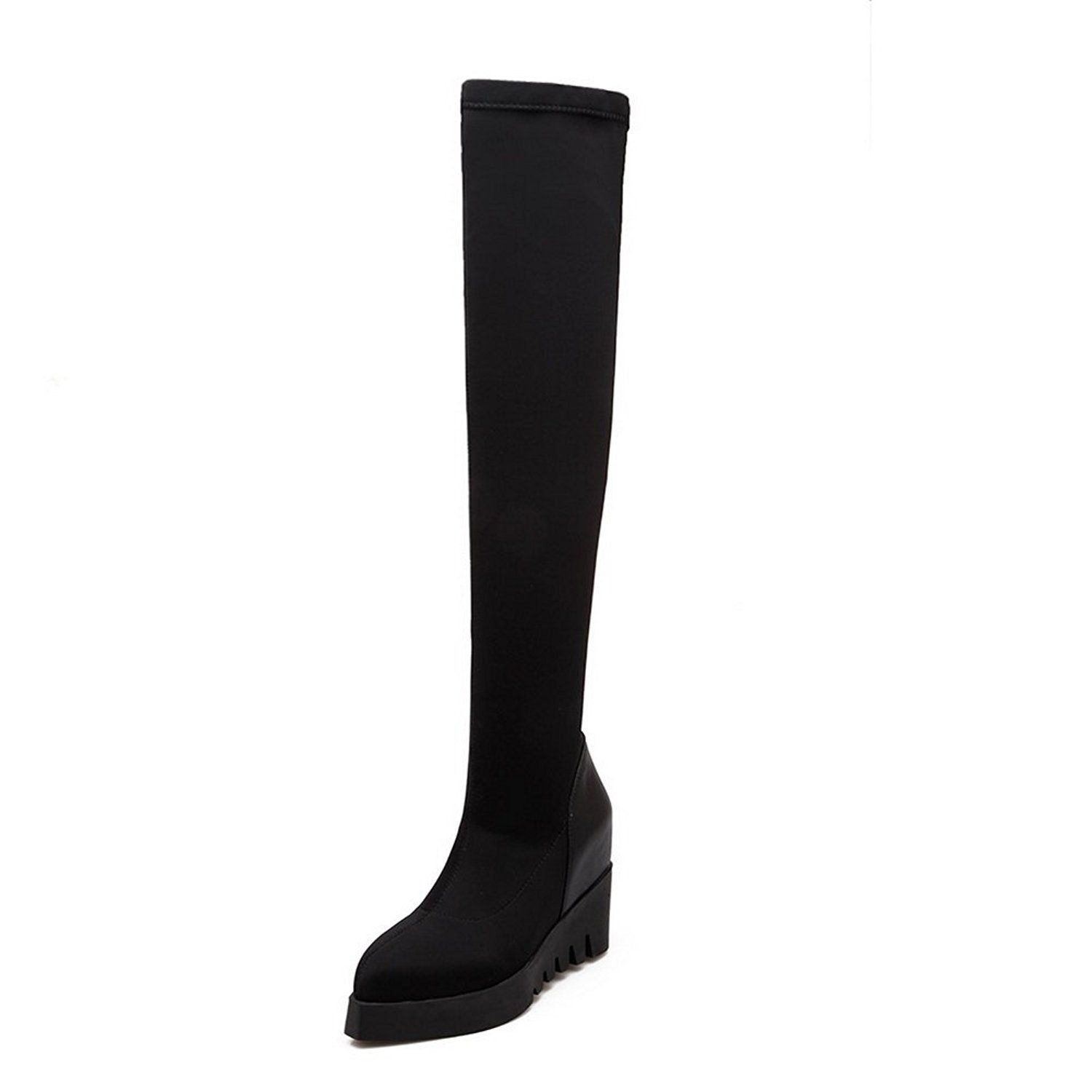 BalaMasa Womens Heighten Inside Platform Winkle Pinker Imitated Leather Boots -- Check this awesome image  : Over the knee boots