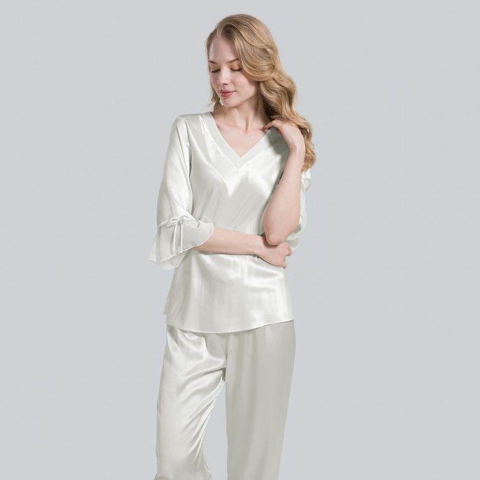 4712534400 Conjunto de pijama de seda pura con cordones para mujer en 2018 ...