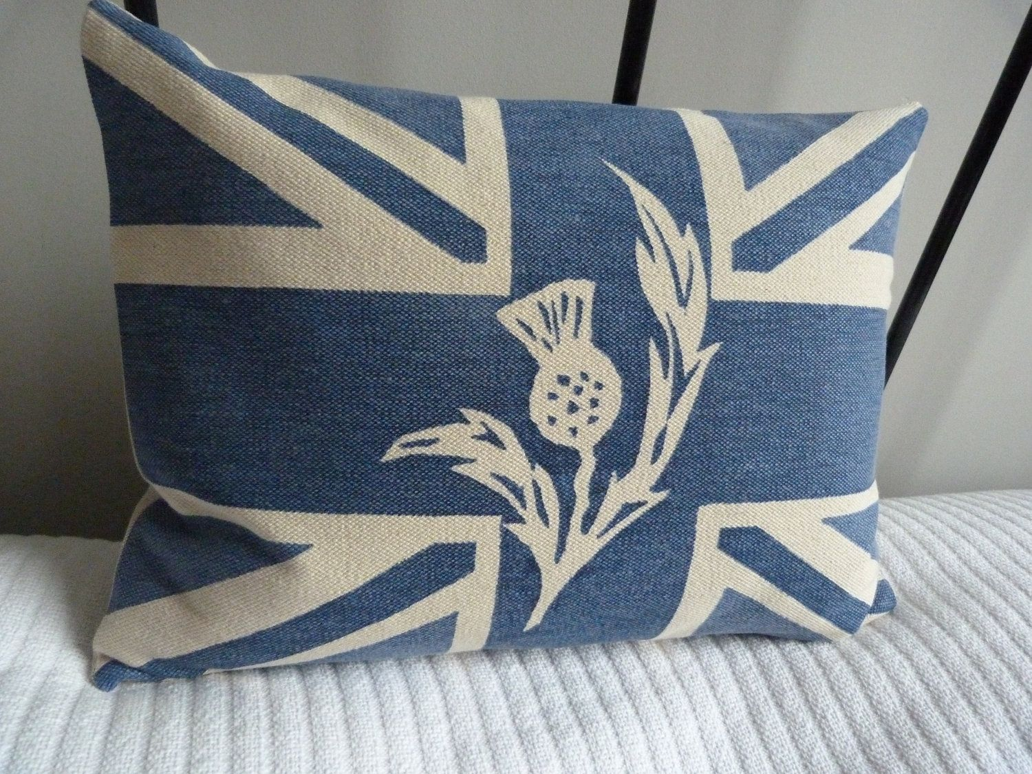 hand printed royal blue scottish thistle union jack flag cushion. $65.00,  via Etsy.