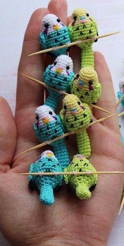 Crocheted Parakeets Janeček Pinterest