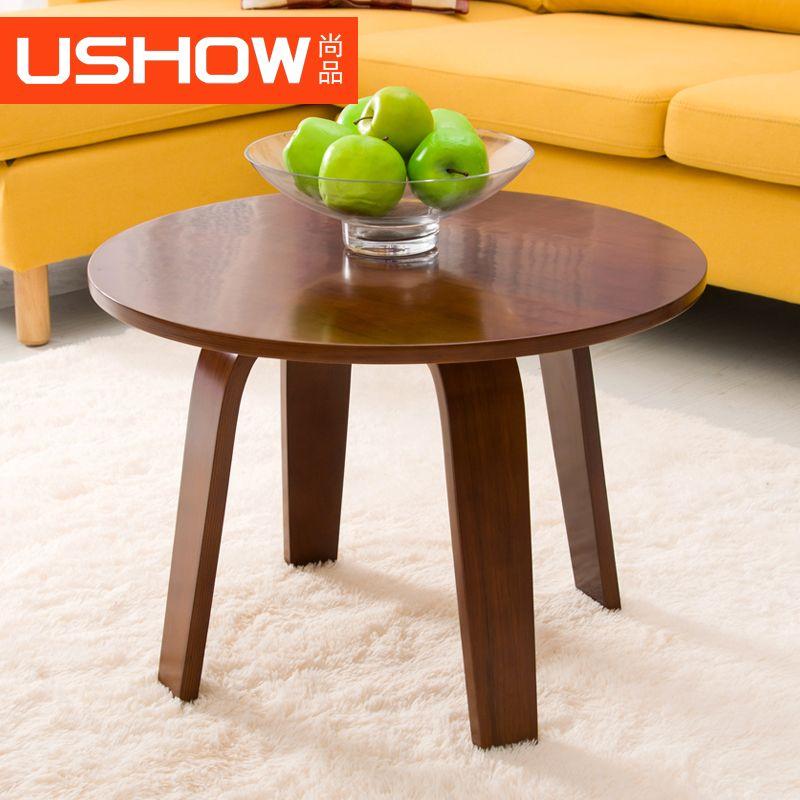 ushow 實木小茶幾創意簡約邊幾角幾邊桌客廳現代小茶桌曲木包郵-tmall.com天貓