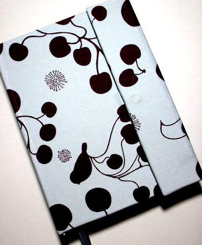 Caderno pássaros e cerejas com fechamento de imã