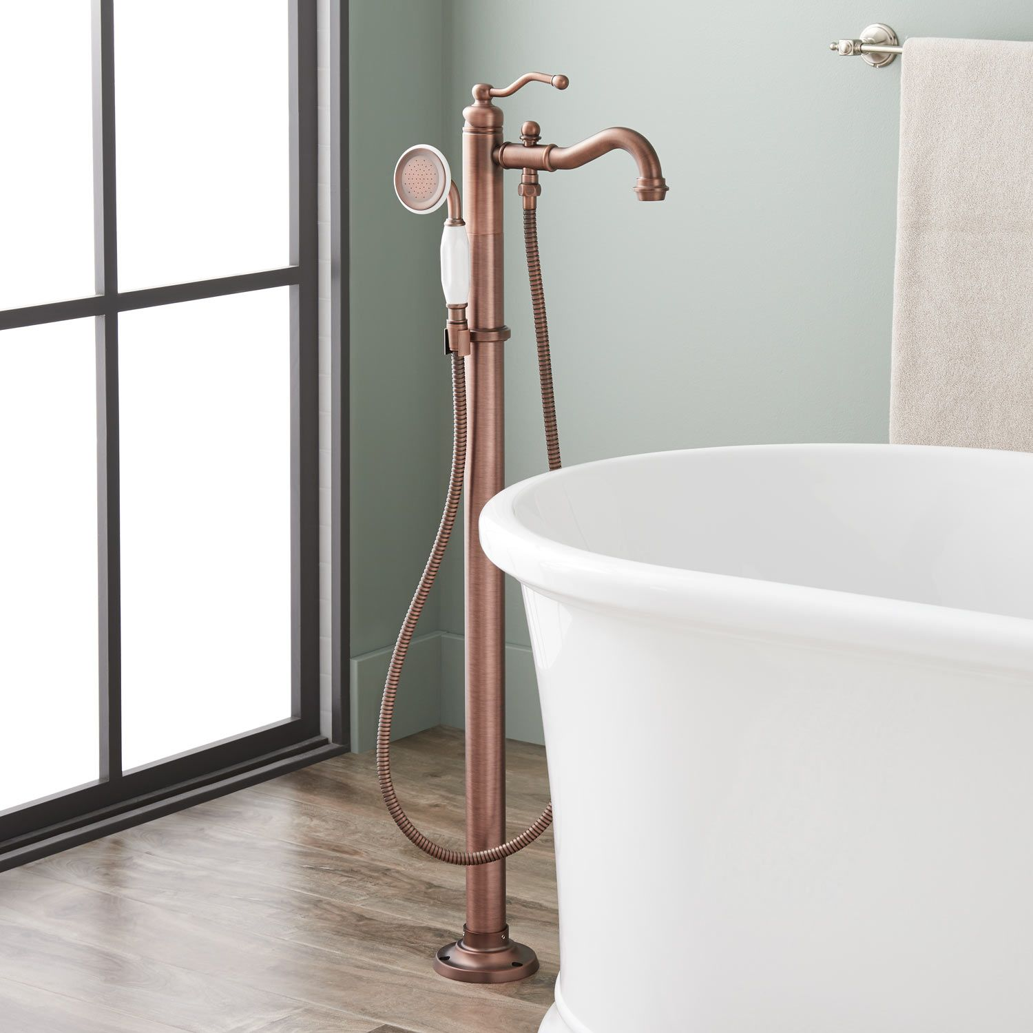 Leta Freestanding Tub Faucet With Hand Shower In Oil Rubbed Bronze