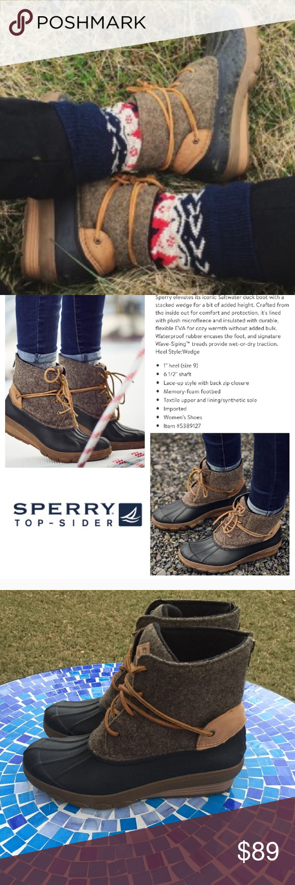 e81e93a8681e LIKE NEW Sperry TopSider Saltwater Wedge Tide boot This Sperry Saltwater  Wedge Tide waterproof wool duck