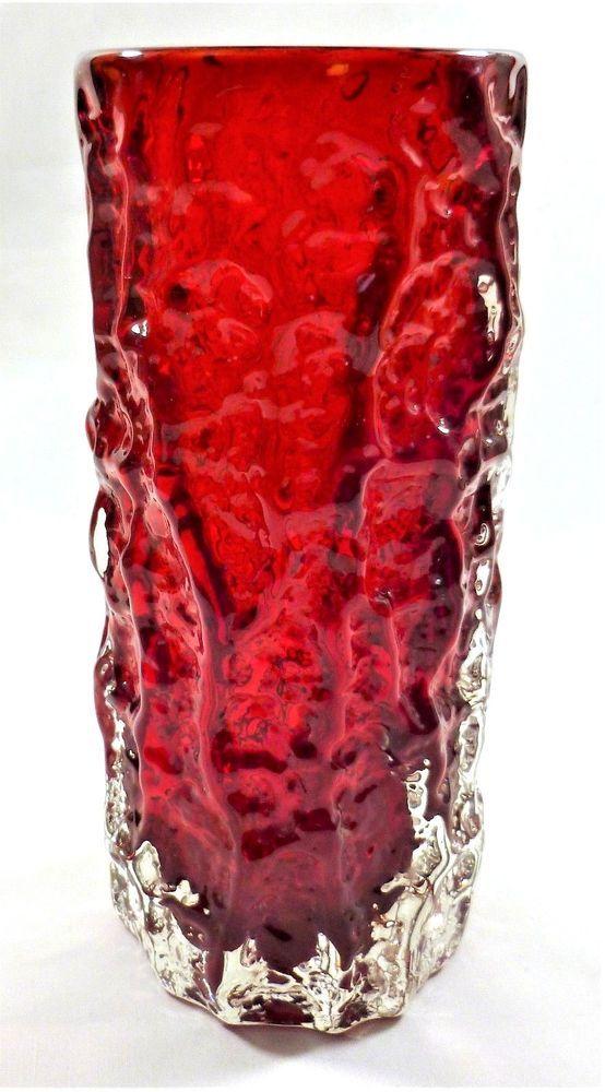 Whitefriars 75 Ruby Red Cased Art Glass Bark Vase Pattern 9690