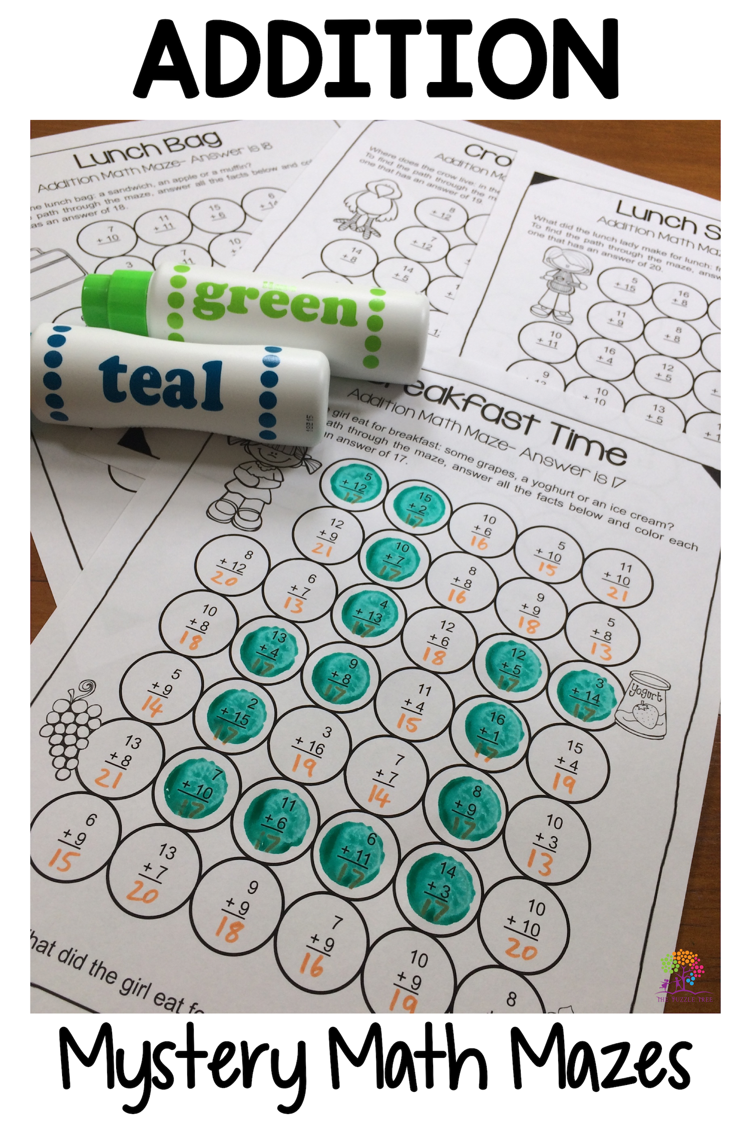 Addition Worksheets Math Mazes For Addition Fact Practice