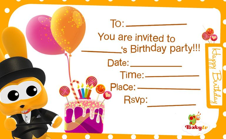 Babytv Birthday Invitations In 2020 Happy Birthday