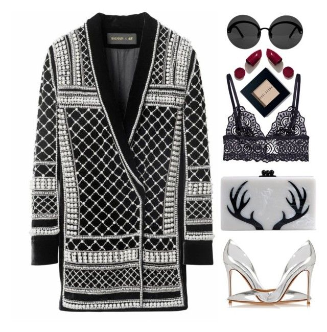 """Balmain x H&M look"" by imperiouspuma ❤ liked on Polyvore featuring Edie Parker, Le Specs, Gianvito Rossi, NARS Cosmetics, Bobbi Brown Cosmetics, women's clothing, women's fashion, women, female and woman"
