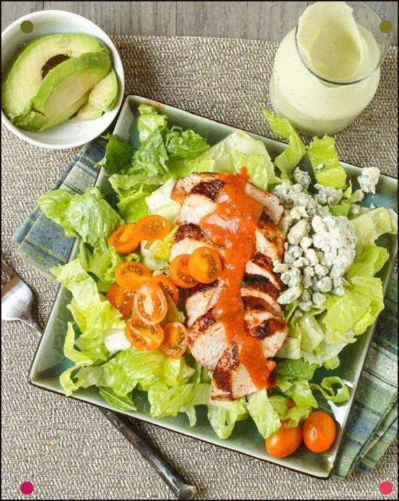 Buffalo Chicken Salad With Avocado Ranch Dressing - Garnish With Lemon #avocadoranch