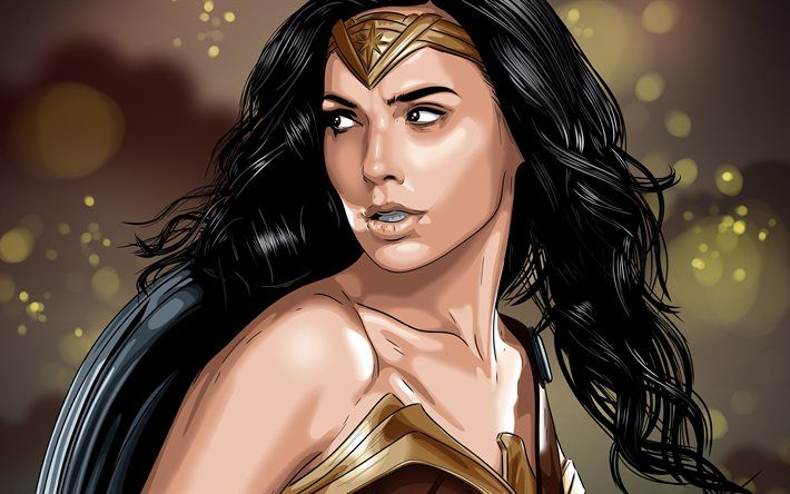 Download Wallpapers Wonder Woman 4k Gal Gadot Art Besthqwallpapers Com Wonder Woman Fan Art Wonder Woman Drawing Wonder Woman