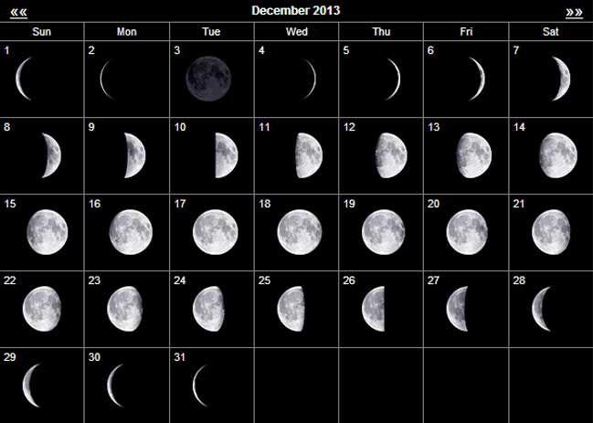 Moon Phases For December 2013 Moon Calendar Moon Phase Calendar
