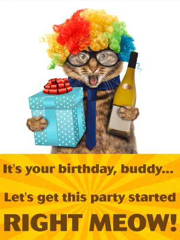 Party Cat Funny Birthday Card For Friends Birthday Greeting Cards By Davia Happy Birthday Cat Happy Birthday Wishes Cards Birthday Cards For Friends