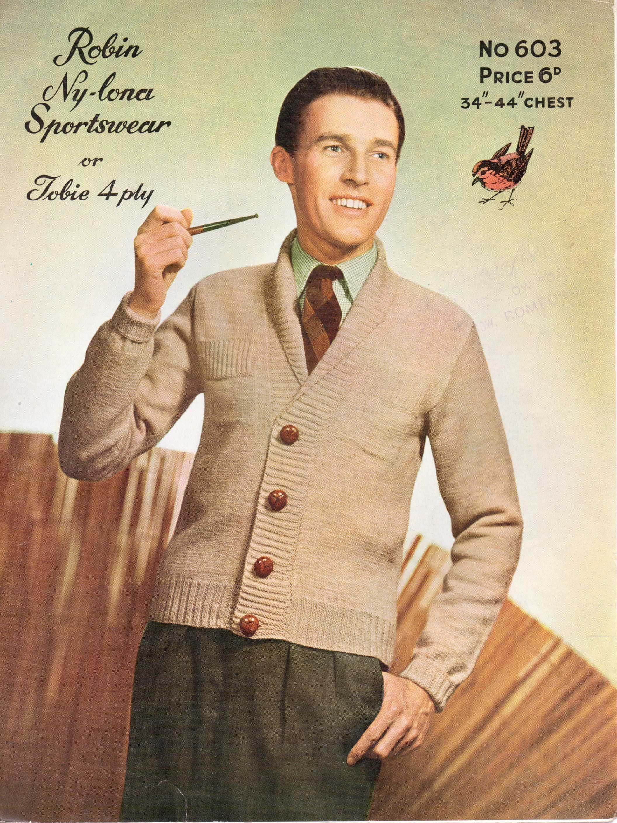 9858a93437a0 Free Knitting Pattern – For Pipe Smoking Gents – a shawl collar cardigan
