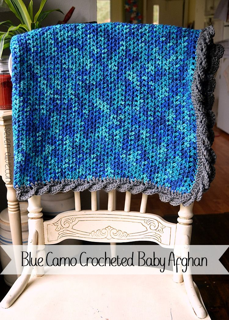Blue Camo Crocheted Baby Afghan with Fan Edging | Diana, Colchas y Manta