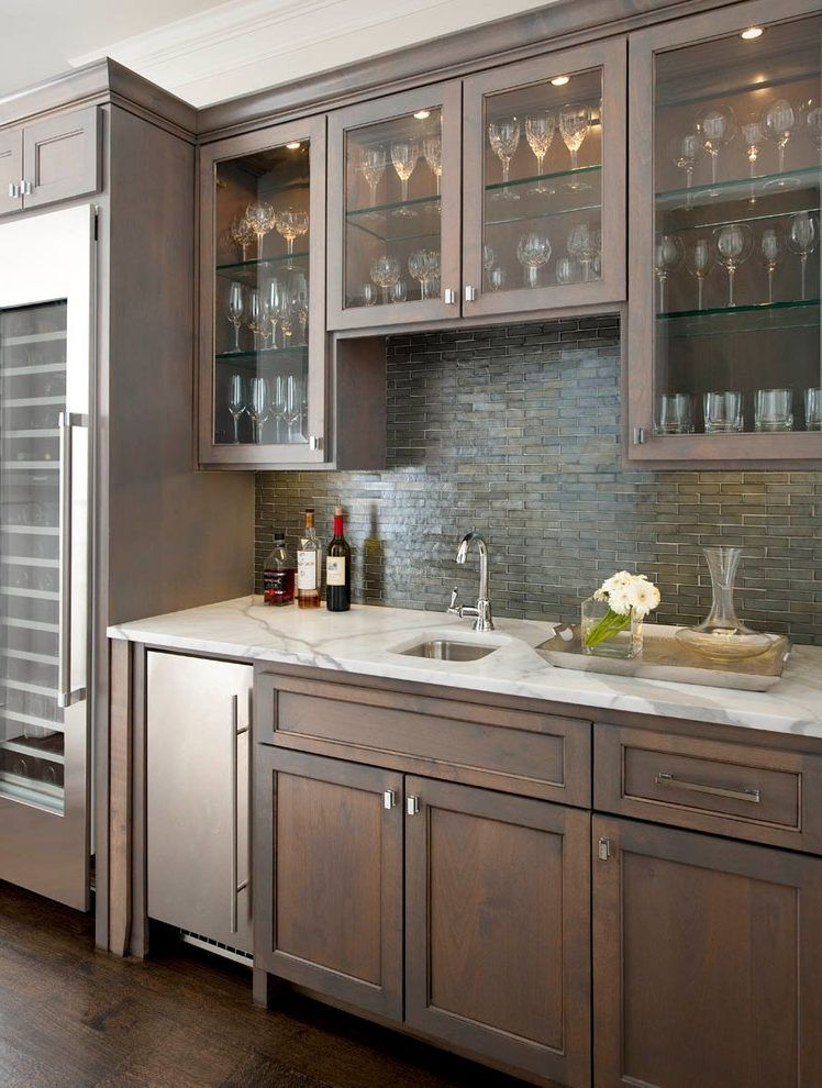 Merveilleux Bar Sink Ideas Home Bar Traditional With Glass Shelves Oceanside Glass Tile  Statuary White Marble Slab Tiles