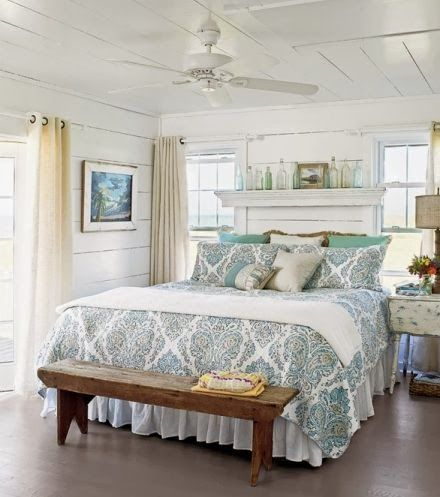 Everything Coastal A Collection Of Beach Cottage Bedroom Inspiration Cottage Style Bedrooms Beach House Bedroom Coastal Cottage Decorating