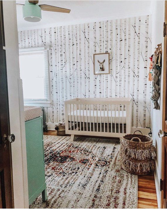 Birch Tree Removable Wallpaper, woodland nursery, nursery
