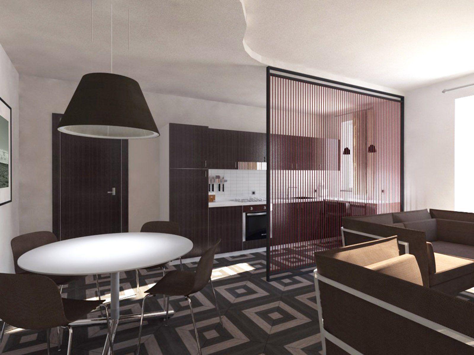 Soggiorno E Cucina Openspace Progetto In Pianta E In 3d