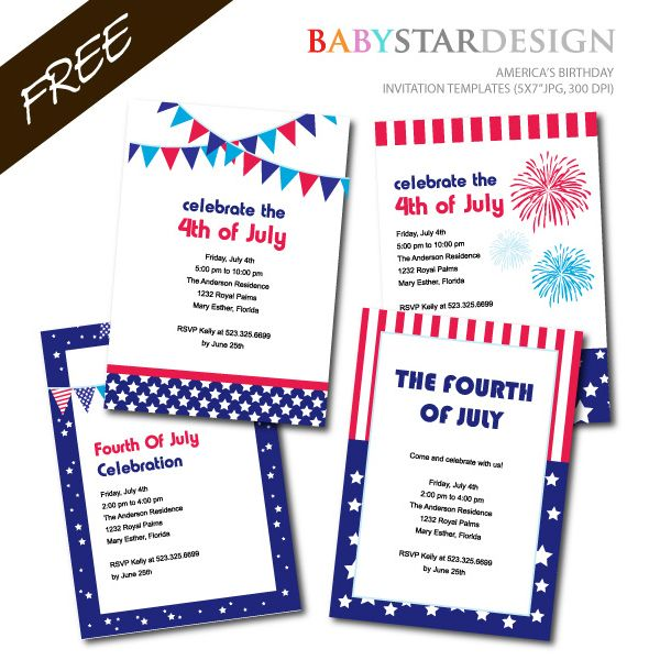 image relating to Free Printable Patriotic Invitations referred to as 4th of july social gathering invitation template - Sinma