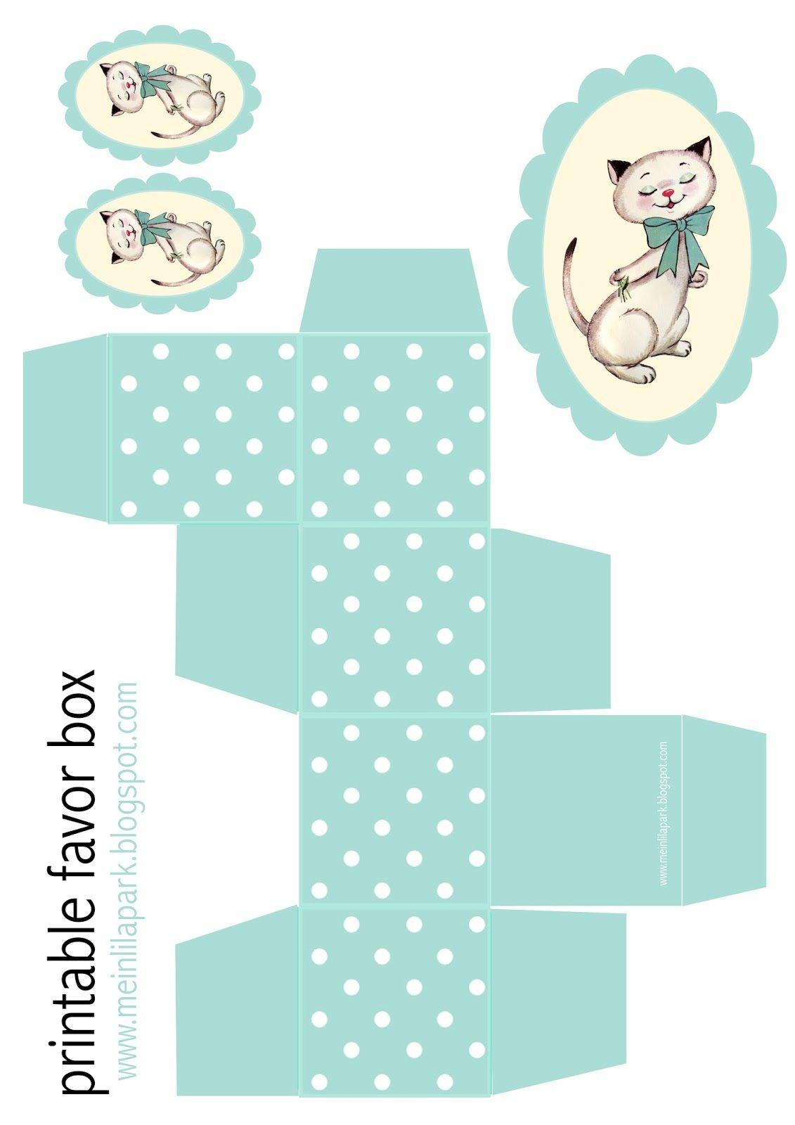 Kostenlos ausdruckbare Polkapunktkasten und Kitty tag - ausdruckbare Geschenkbox - Freebie | MeinLilaPark - DIY printables und Downloads