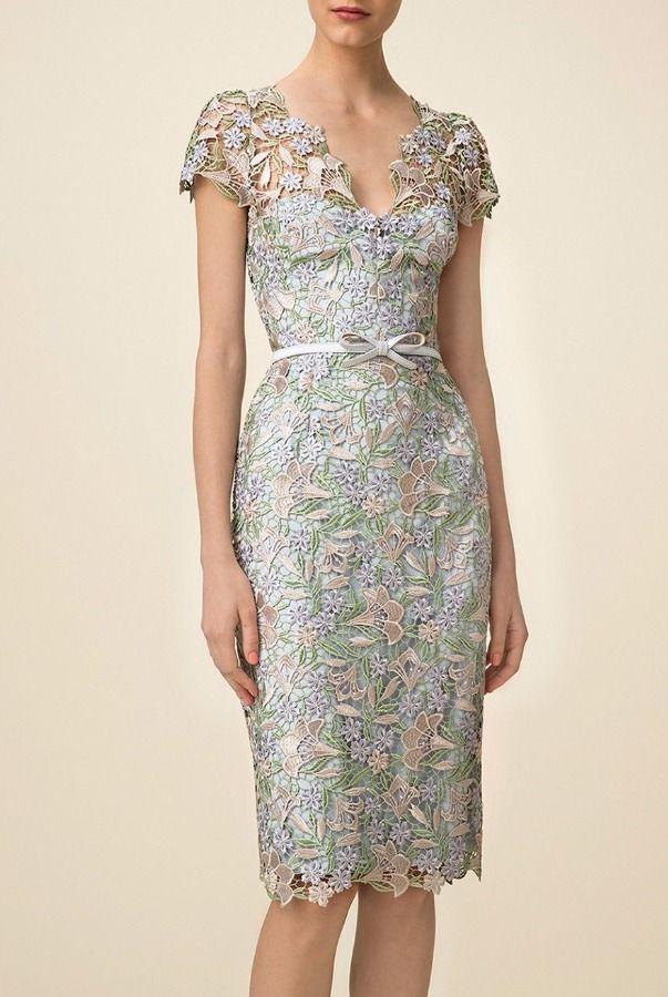Marchesa Notte Guipure Lace Floral Sheath Powder Blue Cocktail Dress