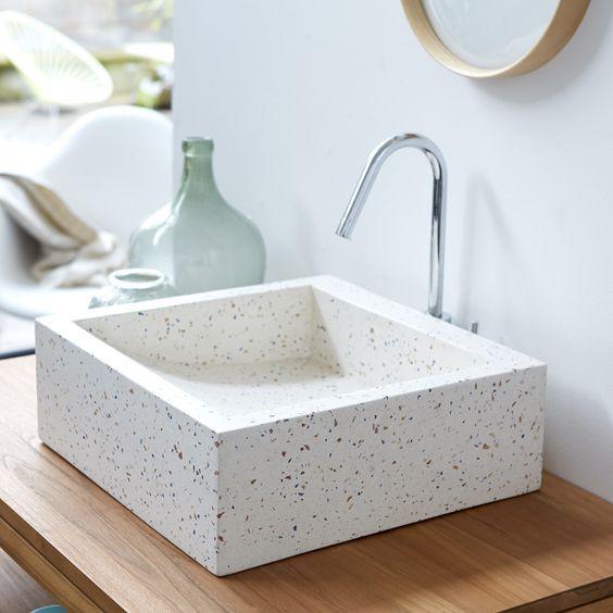 white terrazzo sink is a cute and stylish idea | Terrazzo design ...