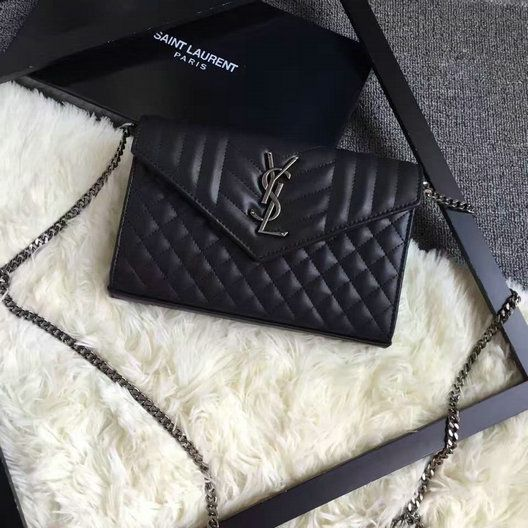 6ef8ec43 2016 A/W SAINT LAURENT Monogram Chain Wallet in Black Mixed ...