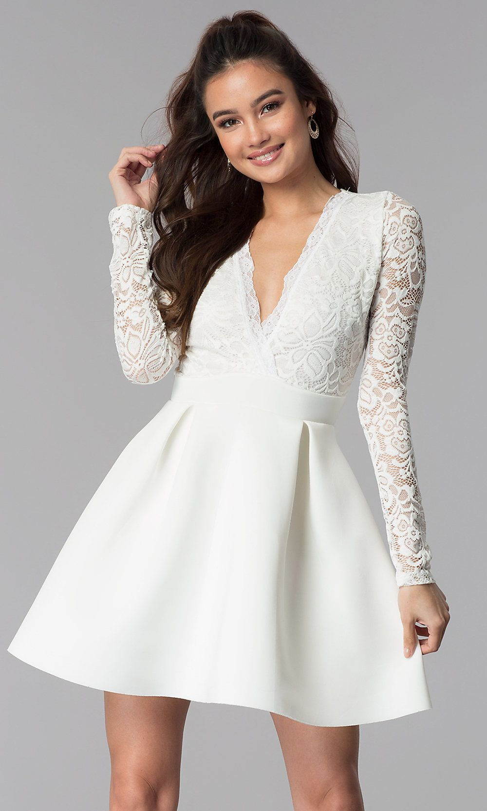 Short OpenBack LaceBodice Sleeved Party Dress in 2020