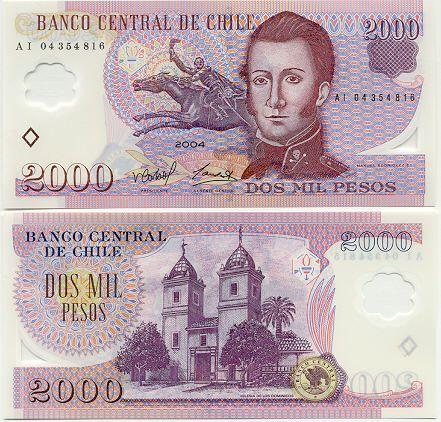 Dos Mil Pesos Banknote Chile Billetes Billetes Del Mundo Papel Moneda
