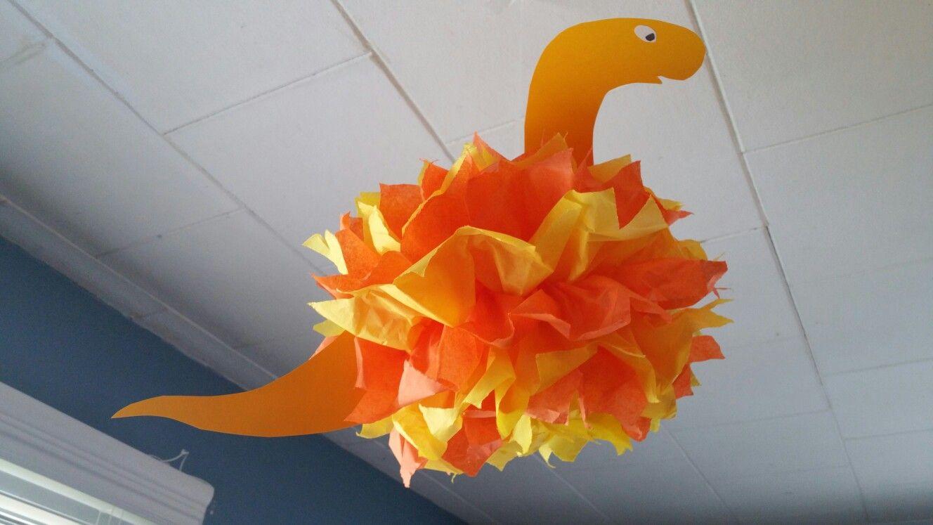 Pom pom Dinosaur birthday decorations DIY Save Pinterest