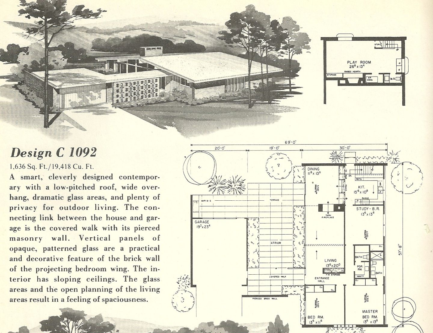 Vintage House Plans 1960s homes mid century homes – Century Homes Floor Plans