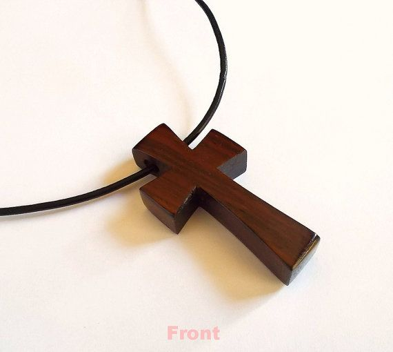 Cross Pendant in Rosewood with Leather Cord by DustyNewt on Etsy