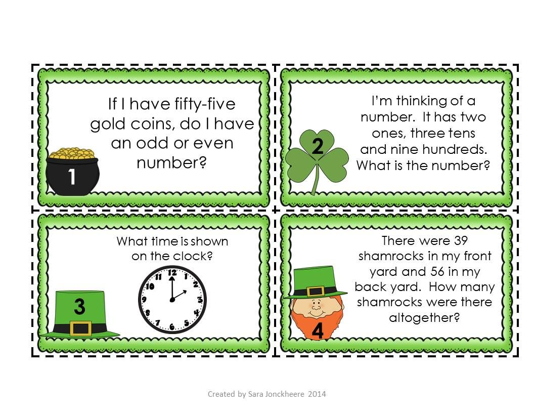 St Patrick S Day Math Task Cards Place Value Time