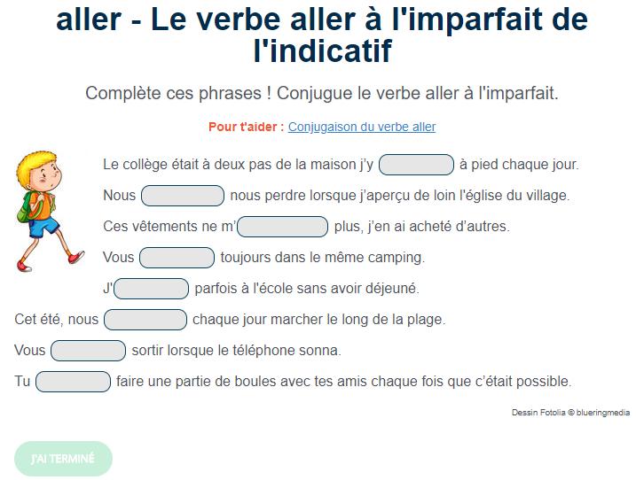 Exercice De Conjugaison Le Verbe Aller A L Imparfait Verbe Aller Exercices Conjugaison Exercice De Francais Cm1