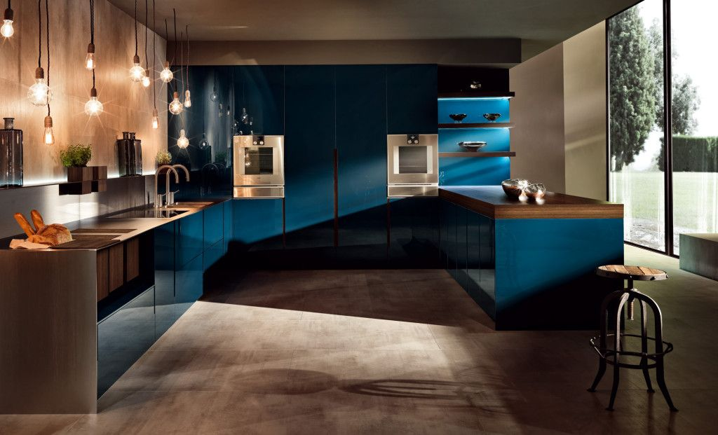 Extravagante Küche In Petrol Blau Mit Stilvollem Design | Küchenlicht |  Pinterest | Petrol, Blau Und Küche
