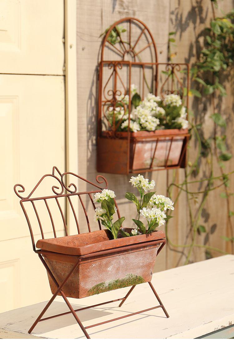 Romantic Antique Garden Hanging Flower Shelf Vintage Garden Accessories In 2020 Decorated Flower Pots Leaf Decor Small Flower Pots