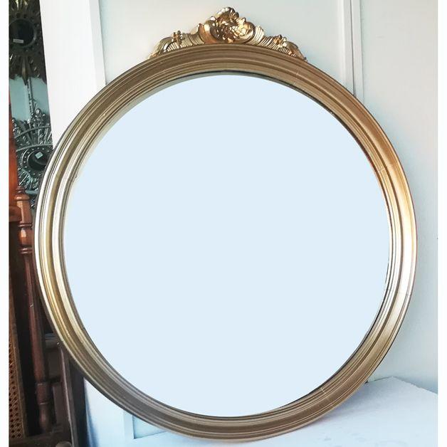 Precio muy bueno iva y transporte incluidos espejo dorado for Espejo a medida precio
