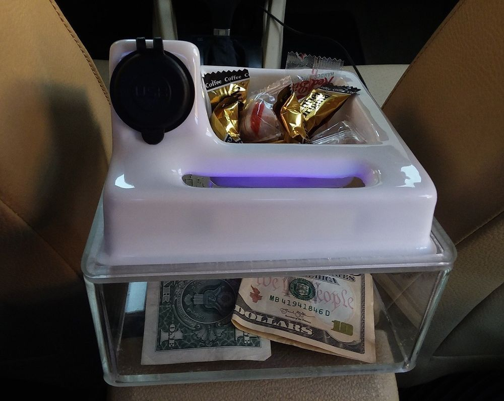 Rideshare Uber Tip Box With White Slide Top Usb Charger And Candy Dish Ebay Lyft Ideas Uber Car Rideshare