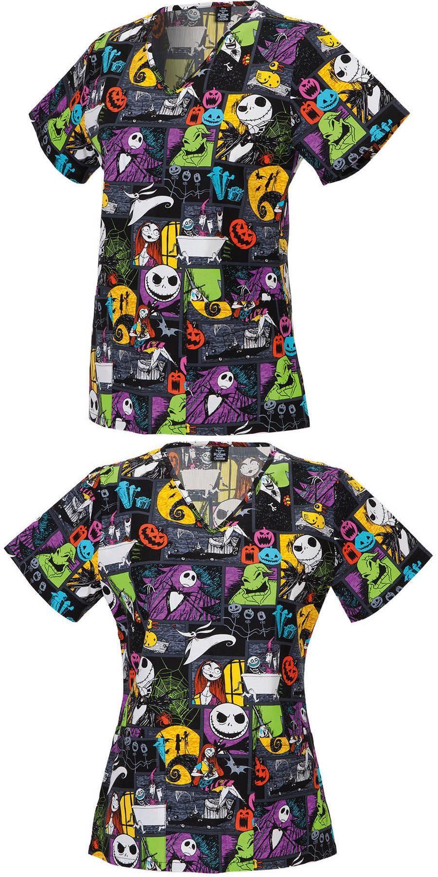 Adult uniforms: NWT Disney Nightmare Before Christmas V-Neck Scrub ...