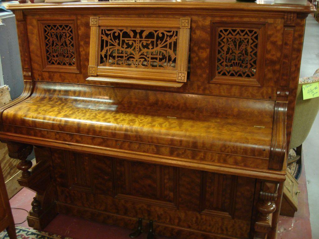 Upright Victorian Piano -1880's Burled Walnut SALE/OFFERS CONSIDERED - Upright Victorian Piano -1880's Burled Walnut SALE/OFFERS CONSIDERED