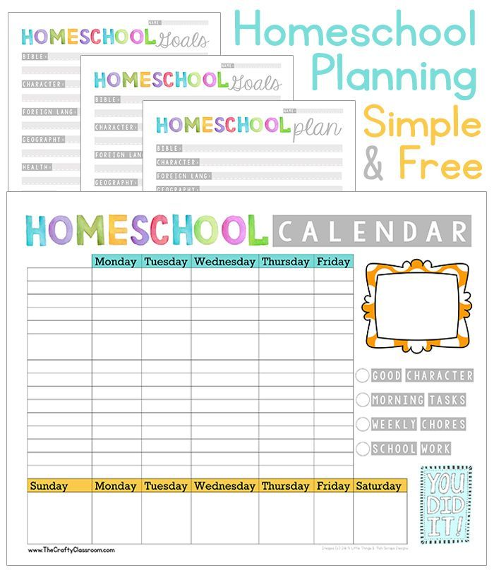 Free homeschool planning printables weekly calendary for Home planner free